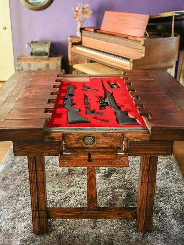 hidden table gun safe